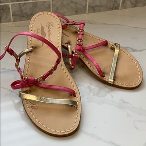 Shoes - Taylor made sandals gold and pink